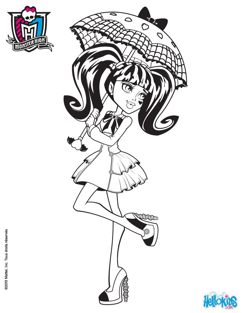 Monster High Coloring Pages Draculaura S Umbrella Monster