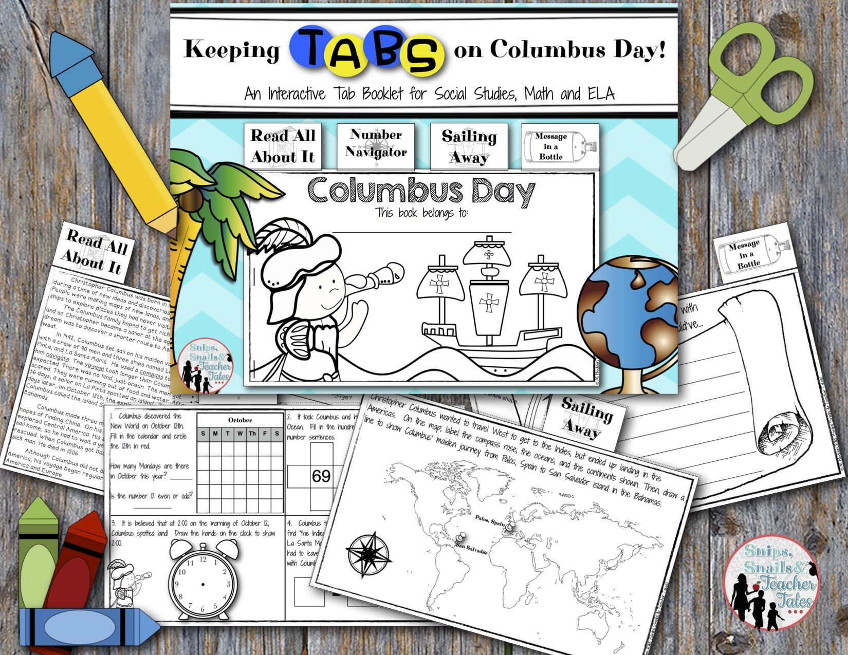 Keeping Tabs On Columbus Day Tab Book For Math And