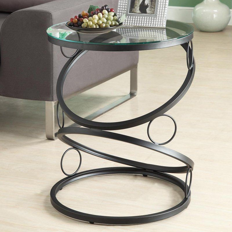 Monarch Round Matte Black Metal Accent Table With Tempered Glass Top From Hayneedle Com Metal Accent Table Metal End Tables Metal Furniture