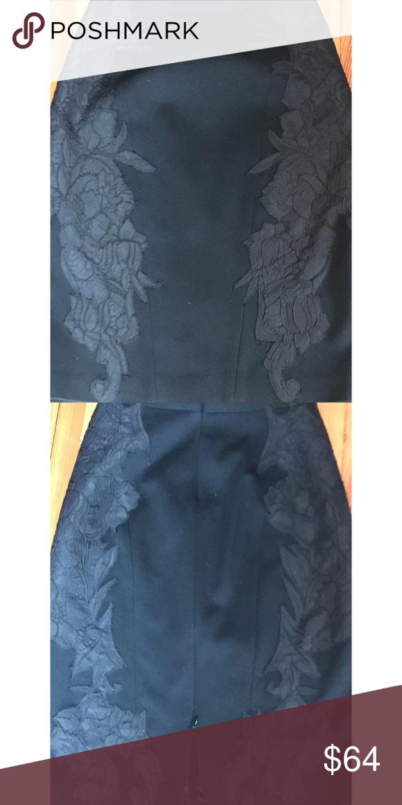 a86c2d4ffe Elie Tahari Black Appliquéd Pencil Skirt Sz 2 Beautiful Elie Tahari Black  Appliquéd Pattern Back and
