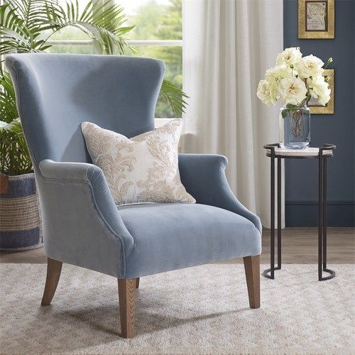 Sergio Light Blue Wing Back Chair Living Room Chairs Home Goods Chairs Chair