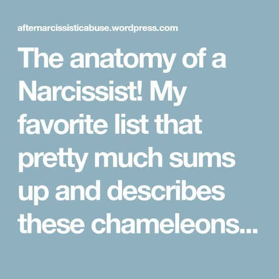 The Anatomy Of A Narcissist My Favorite List That Pretty Much Sums