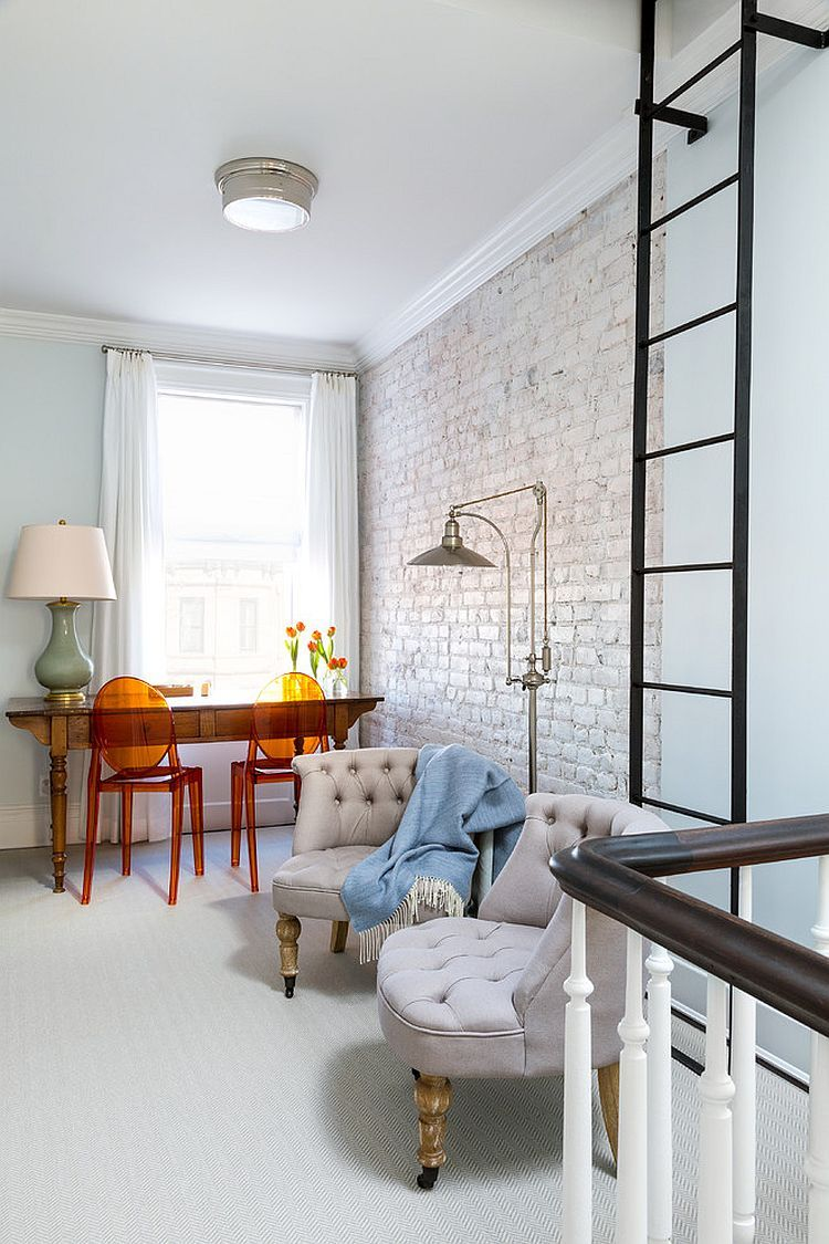 Trendy Textural Beauty: 25 Home Offices with Brick Walls ...