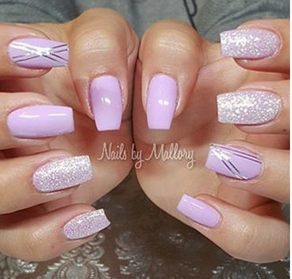Lilac With Diamond Glitter Top Lilac Nails Lilac Nails Design Lavender Nails