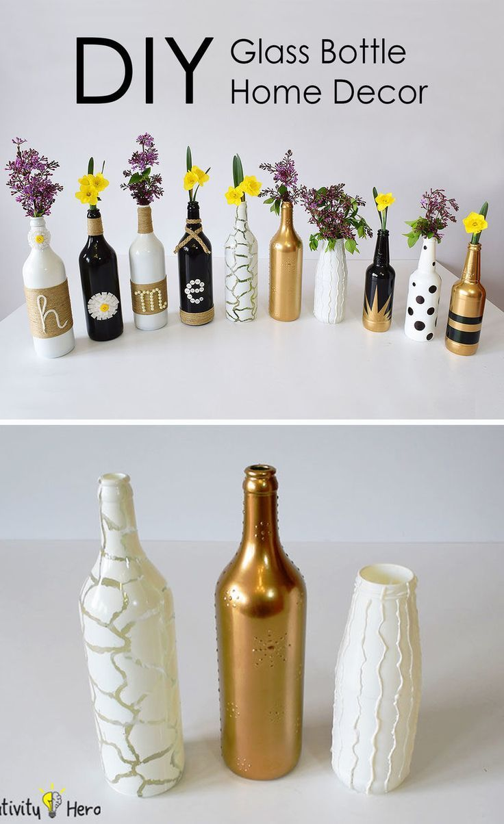 How To Decorate Old Bottles Diy Glass Bottle Home Decor  3 Simple Ideas  Bottle Glass