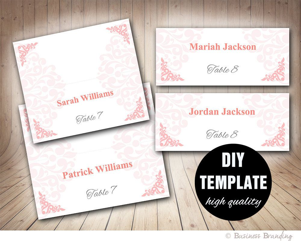 Wedding Pink Placecard Template Foldover, DIY Pink Place card ...