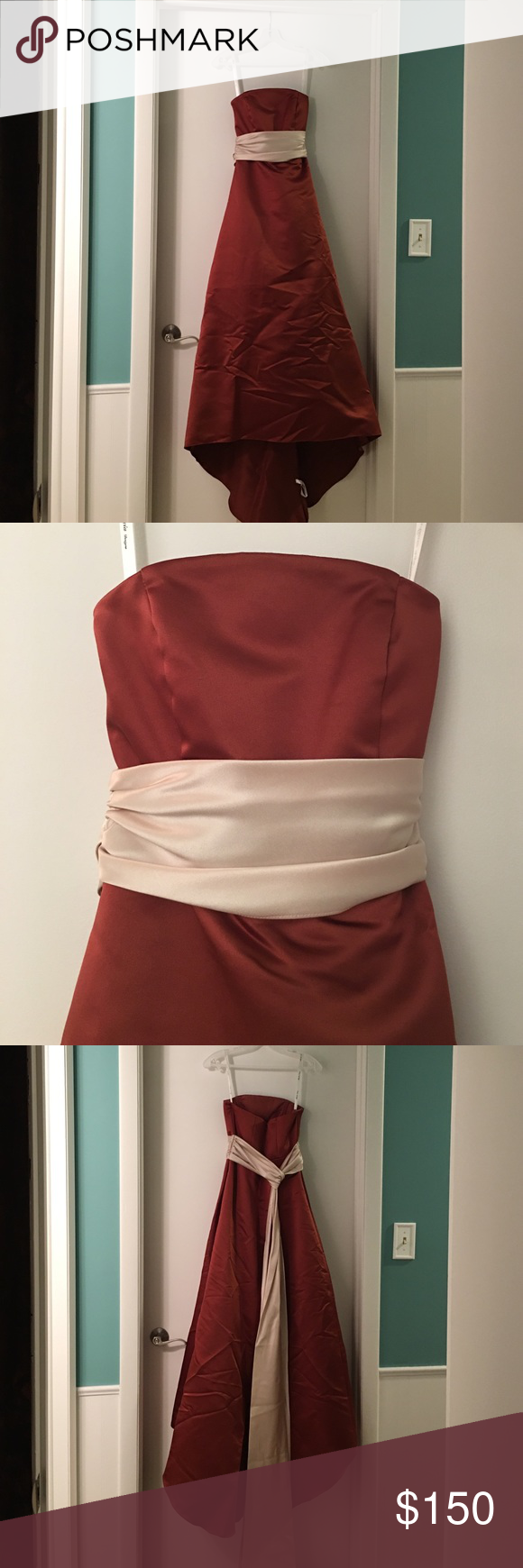 Junior bridesmaid dress Selling a custom made strapless junior bridesmaids dress, a burnt autumn orange color, fits a 5'0 tall girl, can be hemmed, comes with a shawl of the same color as dress, in perfect condition - nothing wrong with it, just sits in my closet. No trades. If you need more pics just ask! Dresses Strapless