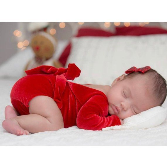 Newborn Girl Christmas Outfit, Red Velvet Romper Set, Newborn Girl