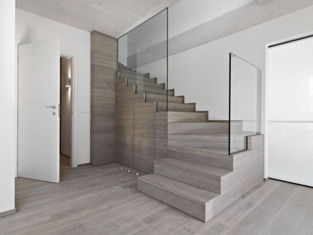Escalier design moderne 79 id es en bois b ton m tal ou - Escalier contemporain beton ...