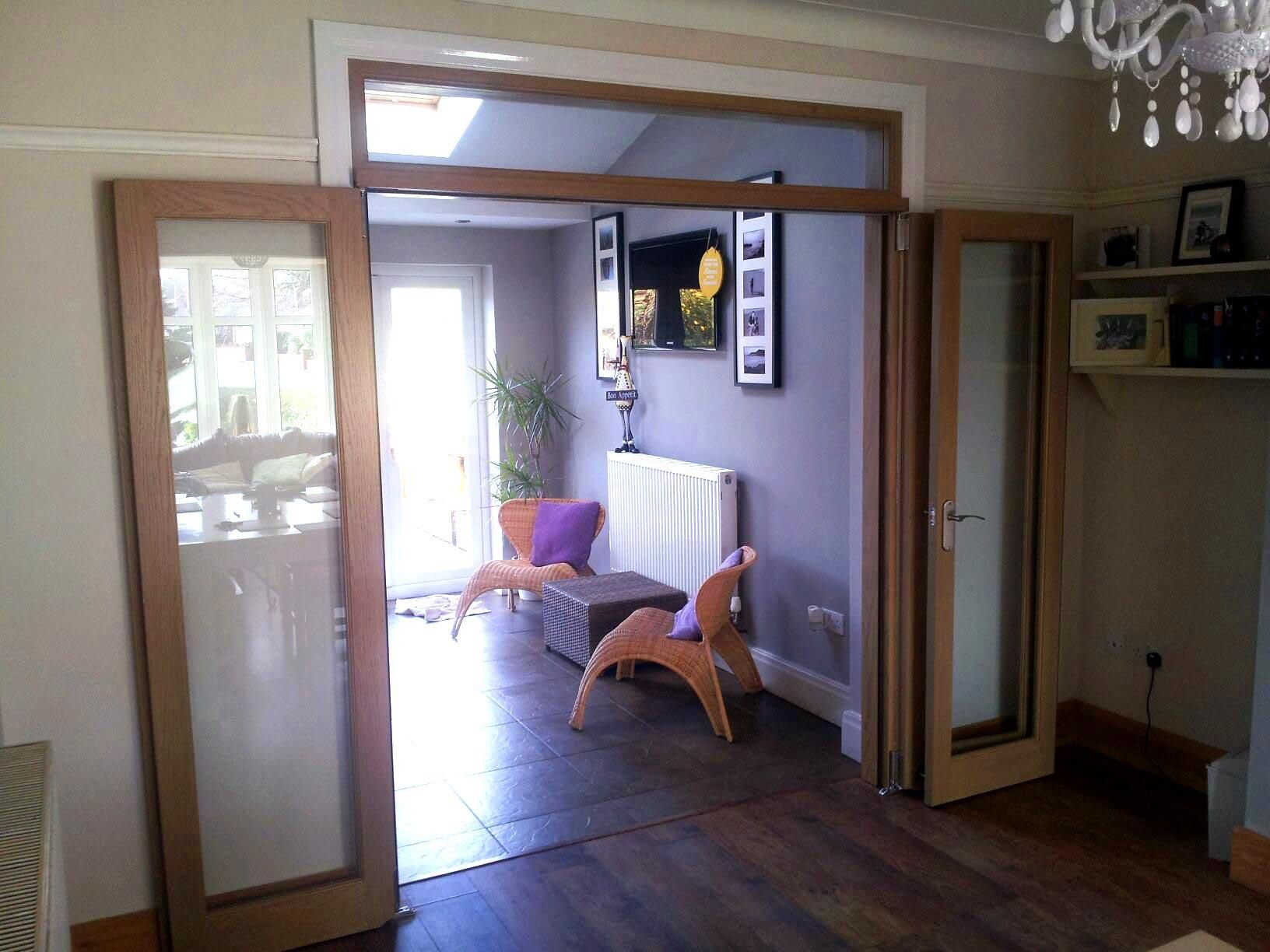 Fully open wrapped against the wall view of the Vufold Inspire 6ft Internal Room Divider Door Preston & Fully open wrapped against the wall view of the Vufold Inspire 6ft ...