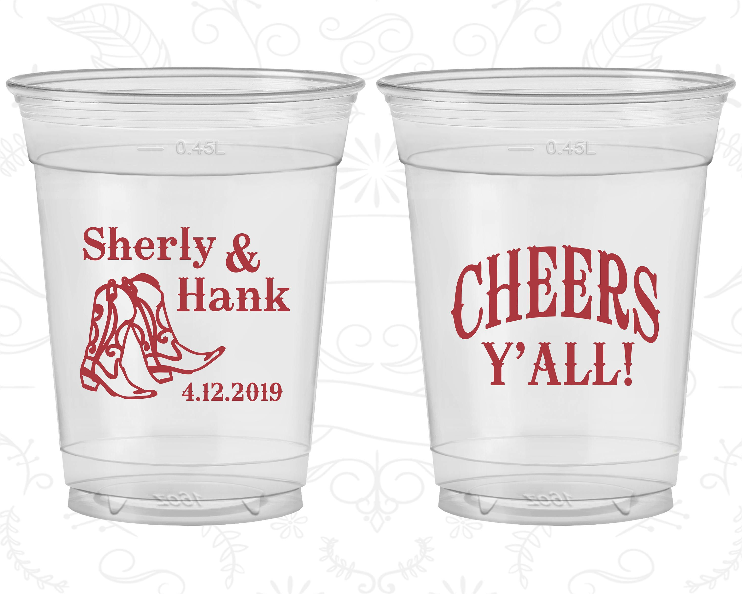 Cheers Cheap Disposable Cups Country Wedding Cowboy Boots Soft Sided Cups 11 Birthday Cup Country Wedding Beach Birthday