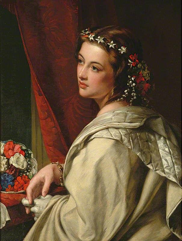 Portrait of a Girl Henry Nelson O'Neil 1817–1880 British, English, Irish #englishdresses1880