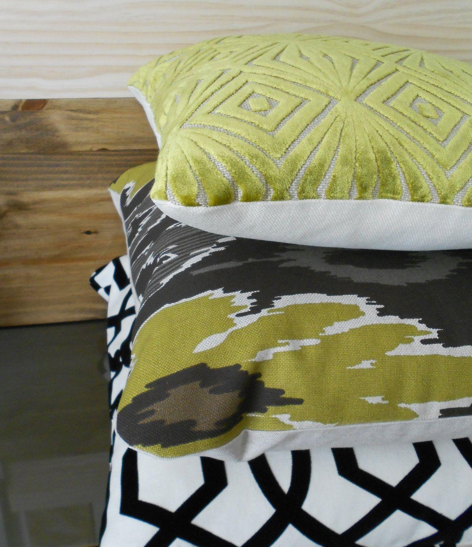 Ikat decorative pillow chartreuse green black and grey throw