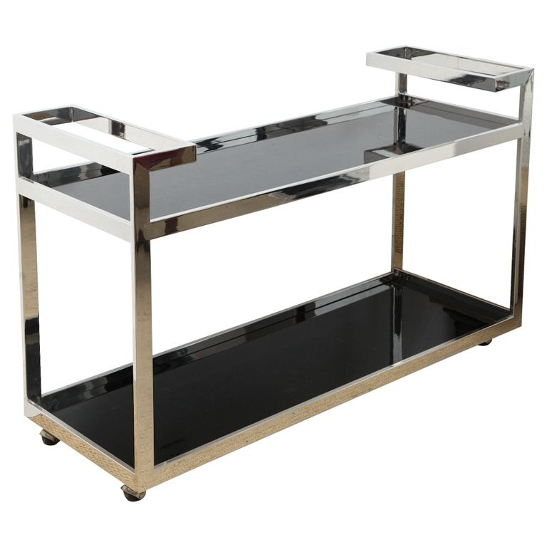 Cool Milo Baughman Minimalis Stainless Steel Serving Bar Cart Decoracao Bar Apartamento