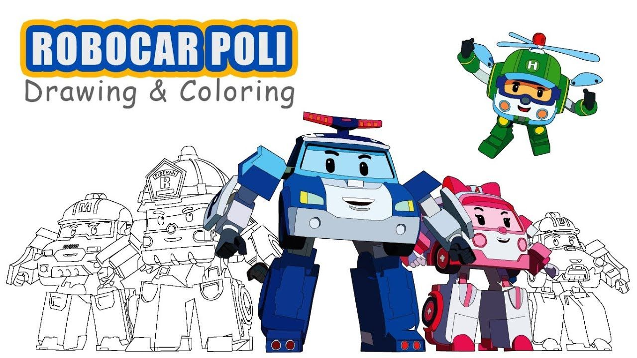 Drawing Robocar Poli Six Cool Robot