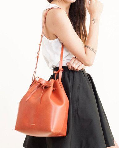5335ebe5db35 Mansur Gavriel - Bucket Bag Coated in Brandy Brick