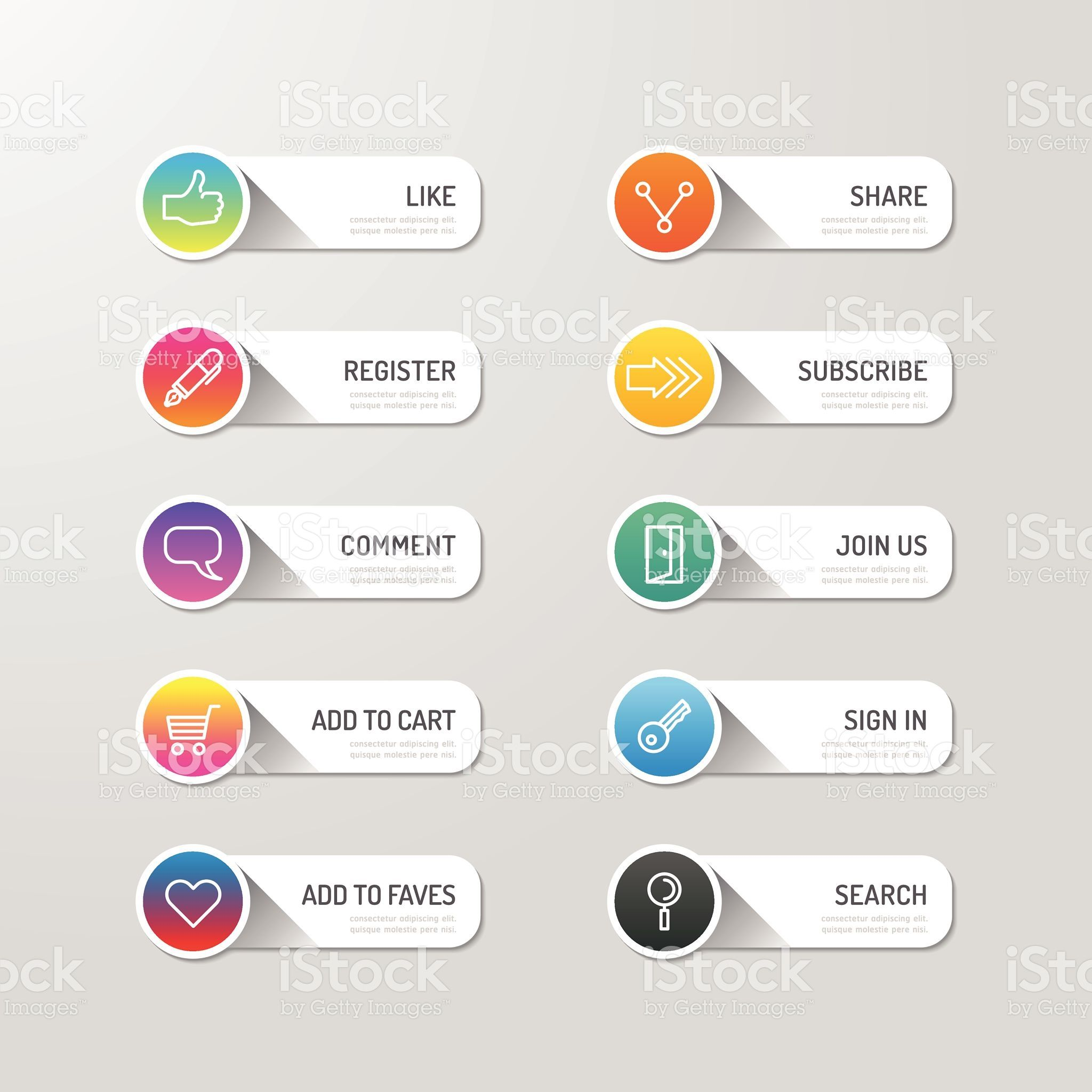 Modern banner button with social icon design options ...
