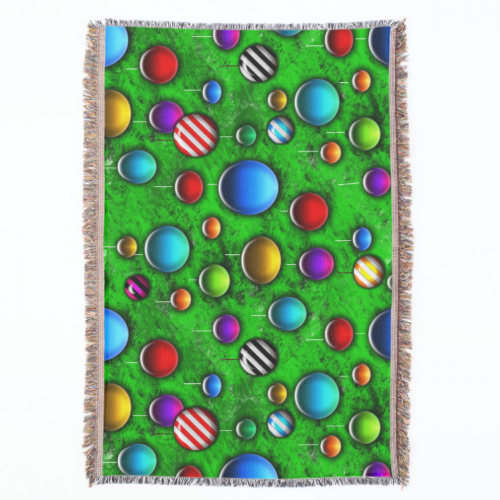 Colorful glass ornaments on a bright green christmas tree in this fun holiday repeating pattern.