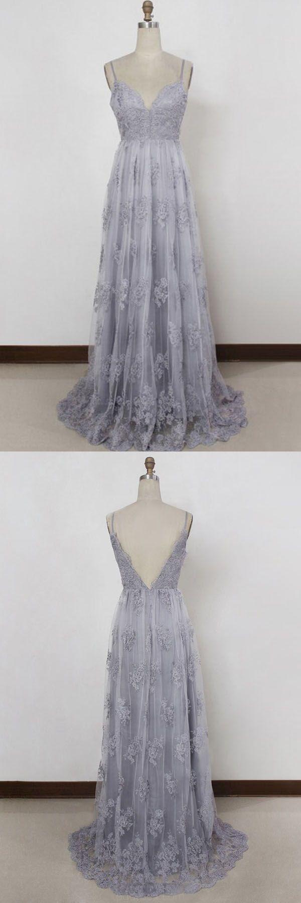 Fine prom dress spaghetti straps sweep train backless lavender