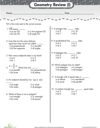 Geometry Basics: Review Quiz #1 | Geometry and Worksheets