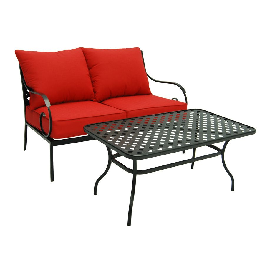 garden treasures yorkford 2 piece steel patio conversation set