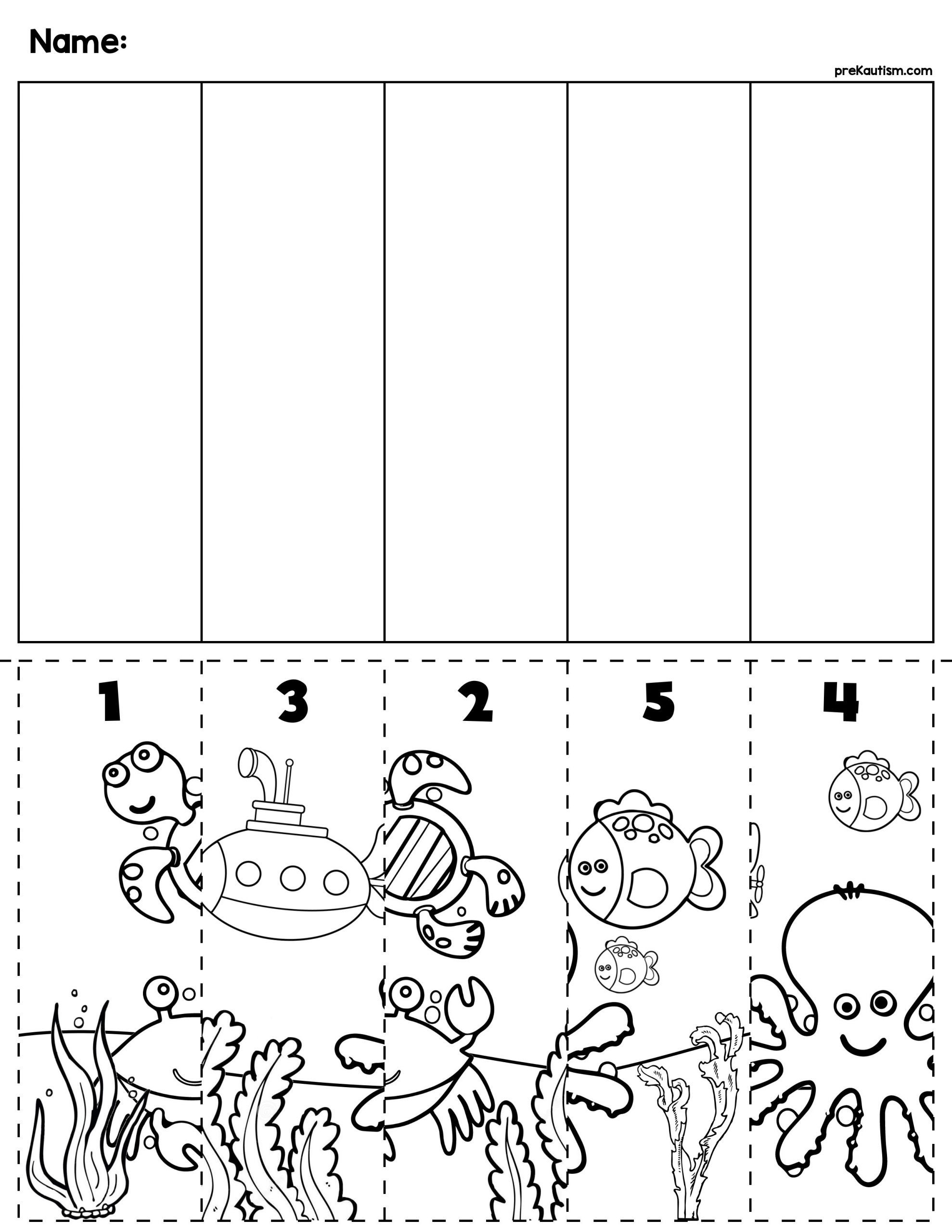 2 Puzzles For Kids Children Worksheets Ocean Scene Number Sequence Puzzle Animal Worksheets Sea Animals Preschool Preschool Worksheets [ 2560 x 1978 Pixel ]