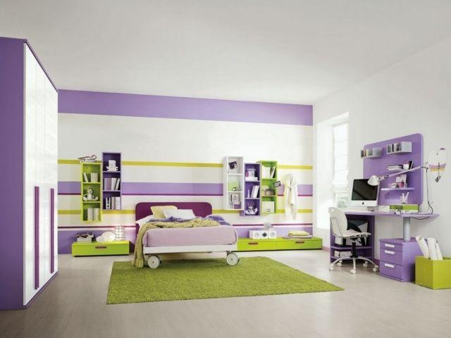 ideen-wandgestaltung-teenager-zimmer-streifen-lila-gelb-bett-auf, Wohnideen design