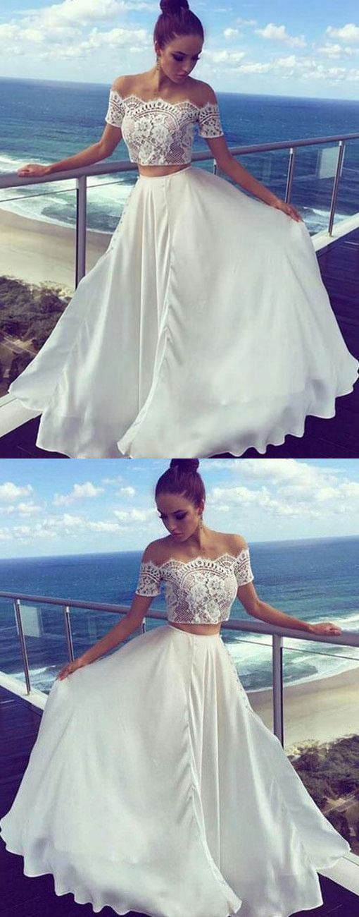 Photo of Two Pieces Off The Shoulder Prom Dresses,Long Prom Dress