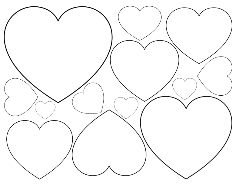 Printable Heart Shapes Tiny Small Medium Outlines Printable Heart Template Heart Coloring Pages Heart Template