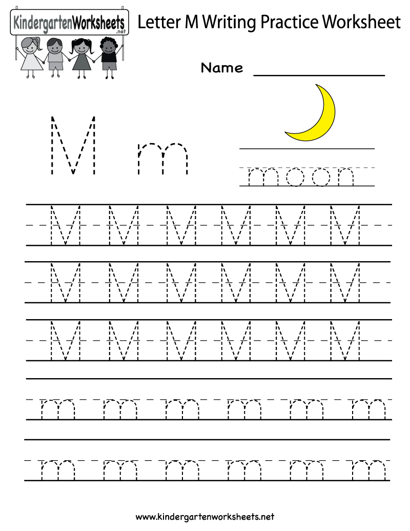 Worksheets Letter M Worksheets For Kindergarten kindergarten letter m writing practice worksheet printable printable
