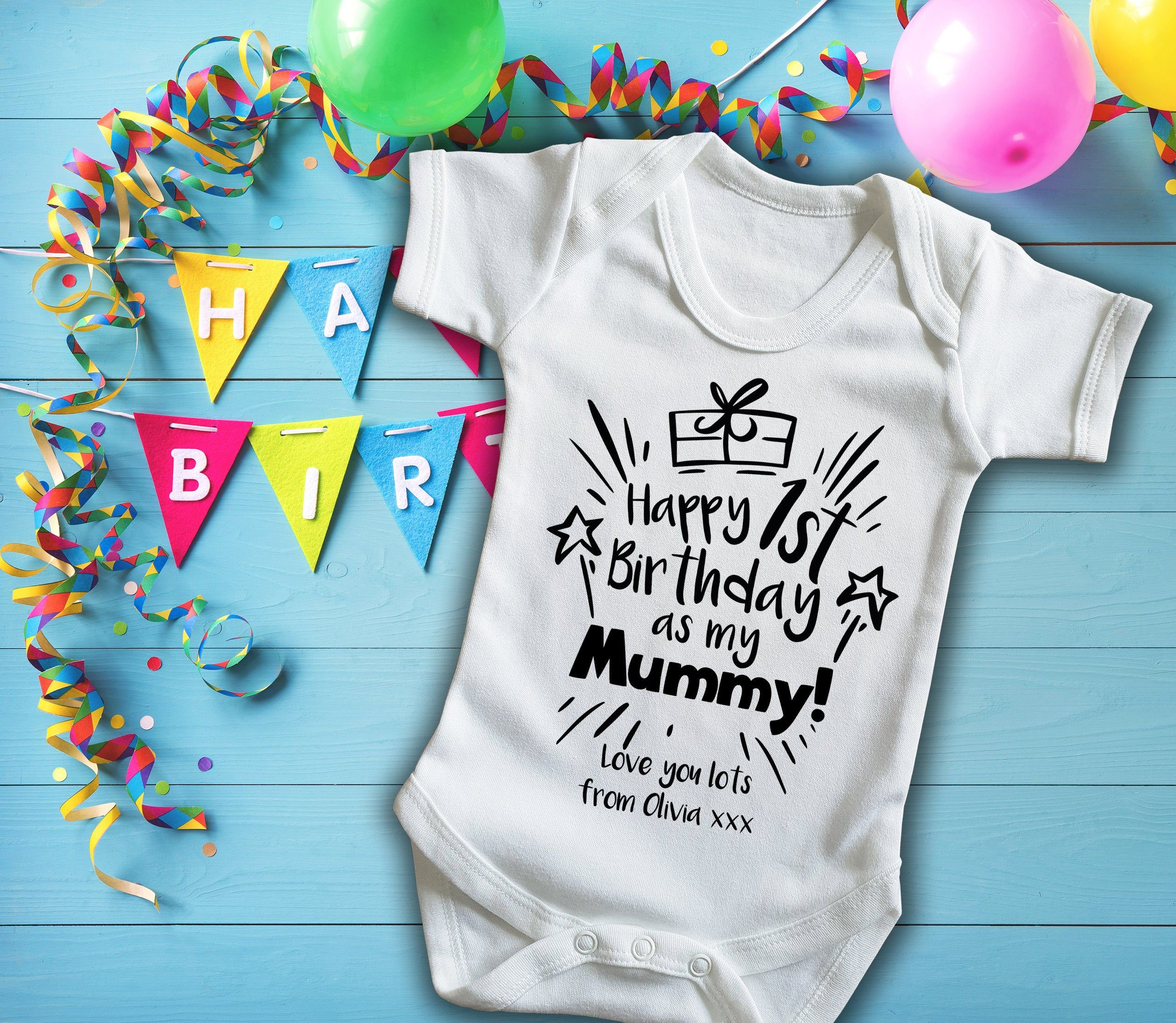 Happy Mothers Day Personalised Vest Baby Grow Body Suit Funny Elephants Blue