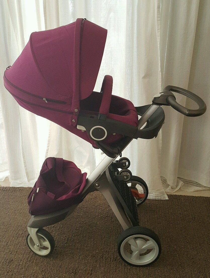 Stokke Xplory Purple Stroller with Rider, Footmuff and