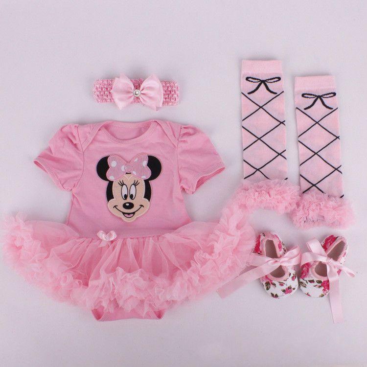 Newborn Infant Baby Girls Headband+Romper+Leg Warmers+Shoes Minnie ...