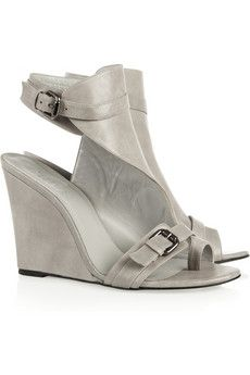 Light Gray Leather Wedge Sandals Karl Lagerfeld Leather Wedge Sandals Shoes Leather Wedges
