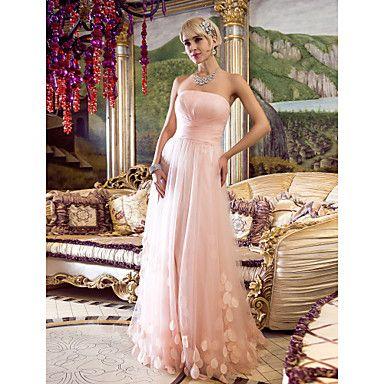 vestido de bainha / coluna strapless do assoalho-comprimento de tule de noite / baile de finalistas (466570) – EUR € 85.09