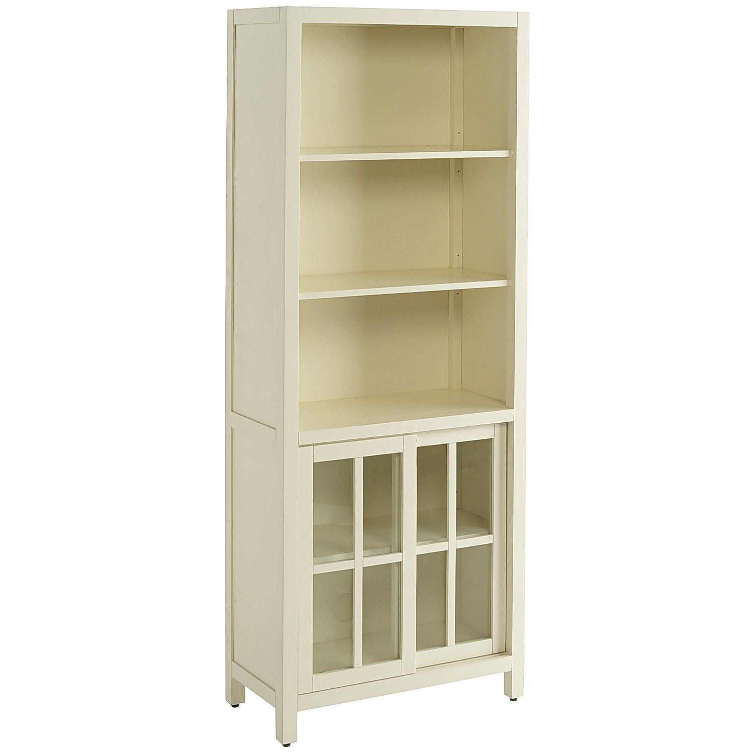 Sausalito Tall Bookcase - Antique White - Glass Tall Bookcase With Doors,  Bookcase Shelves, - Sausalito Tall Bookcase - Antique White - Glass *Shelving
