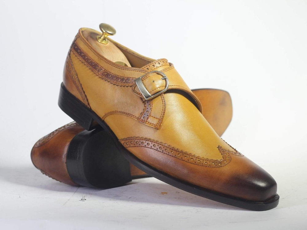 #men #tanshoes #wingtipshoes #monkstrapshoes #monkshoes #leathershoes #handmadeshoes #goodyearwelted #handstitched #designershoesforless #shoesaddict #fashionshoes #mensfashion #menhandmadeleathershoes Handmade Men's Tan Wing Tip Leather Monk Strap Shoes, Men Buckle Designer Shoes