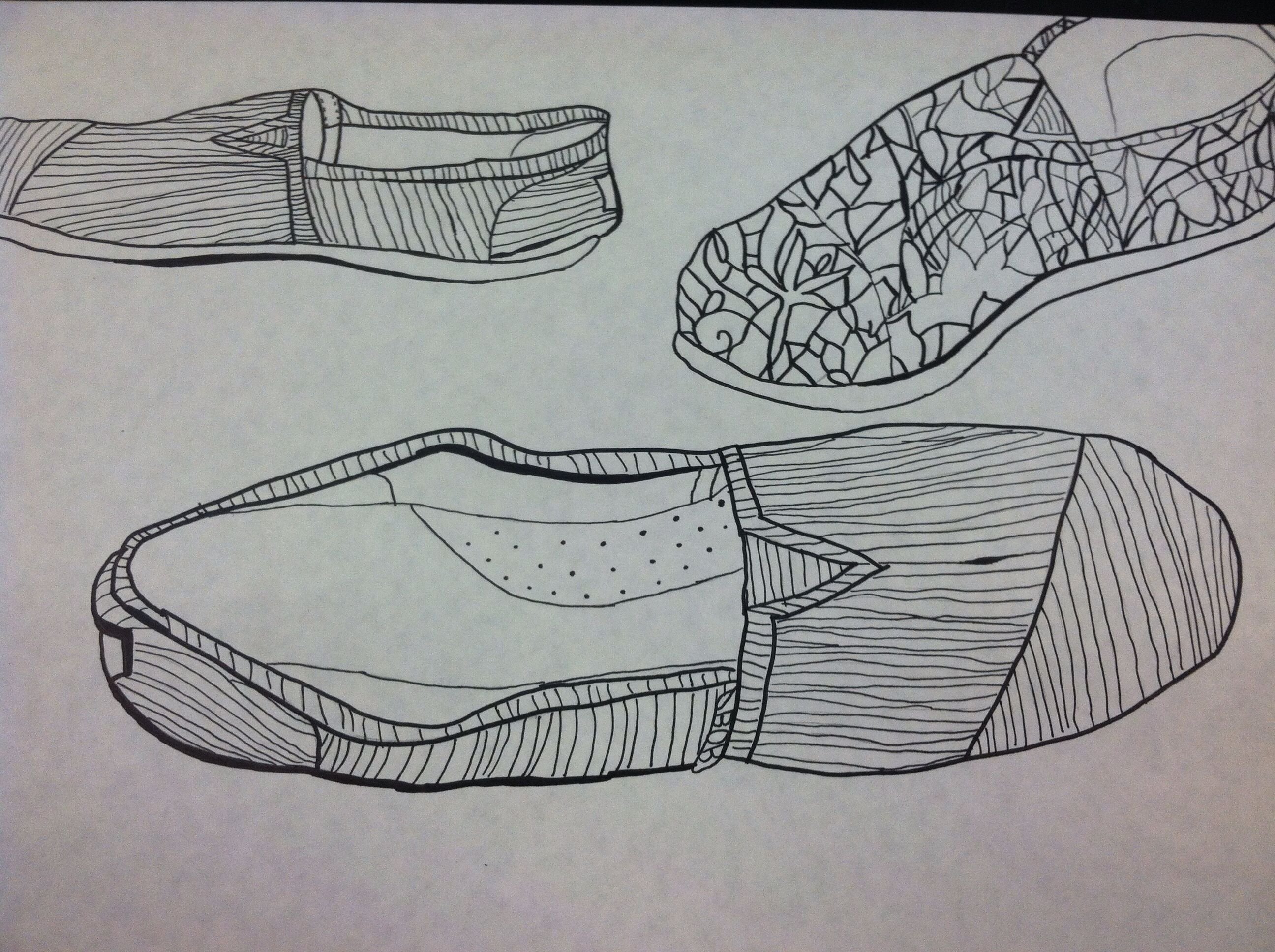 Line Art Shoes : Contour line shoe drawings some of my own artwork