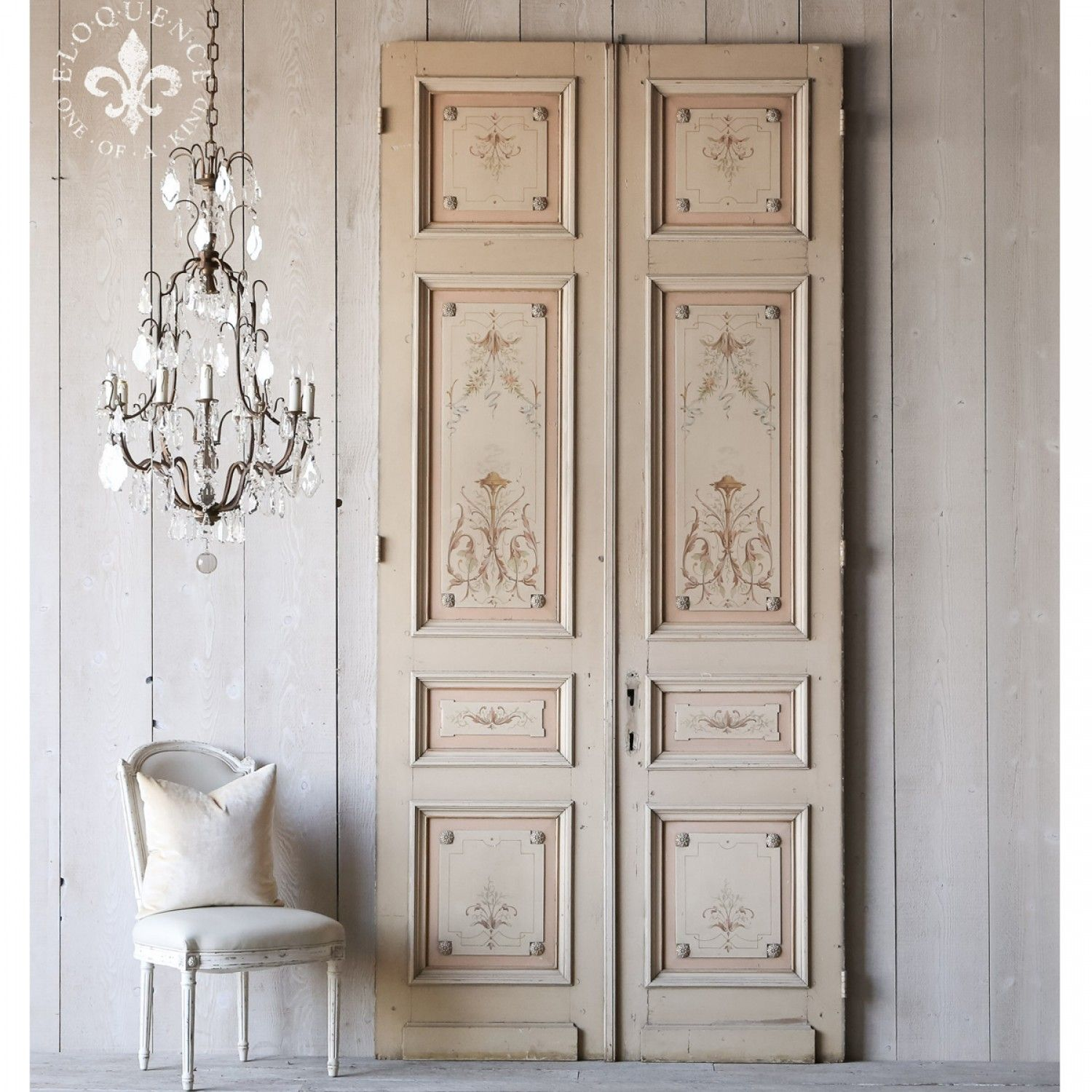 Perfect Home Incredible Pair Of Hand Painted French Interior Antique Doors Antique Interior  French Doors