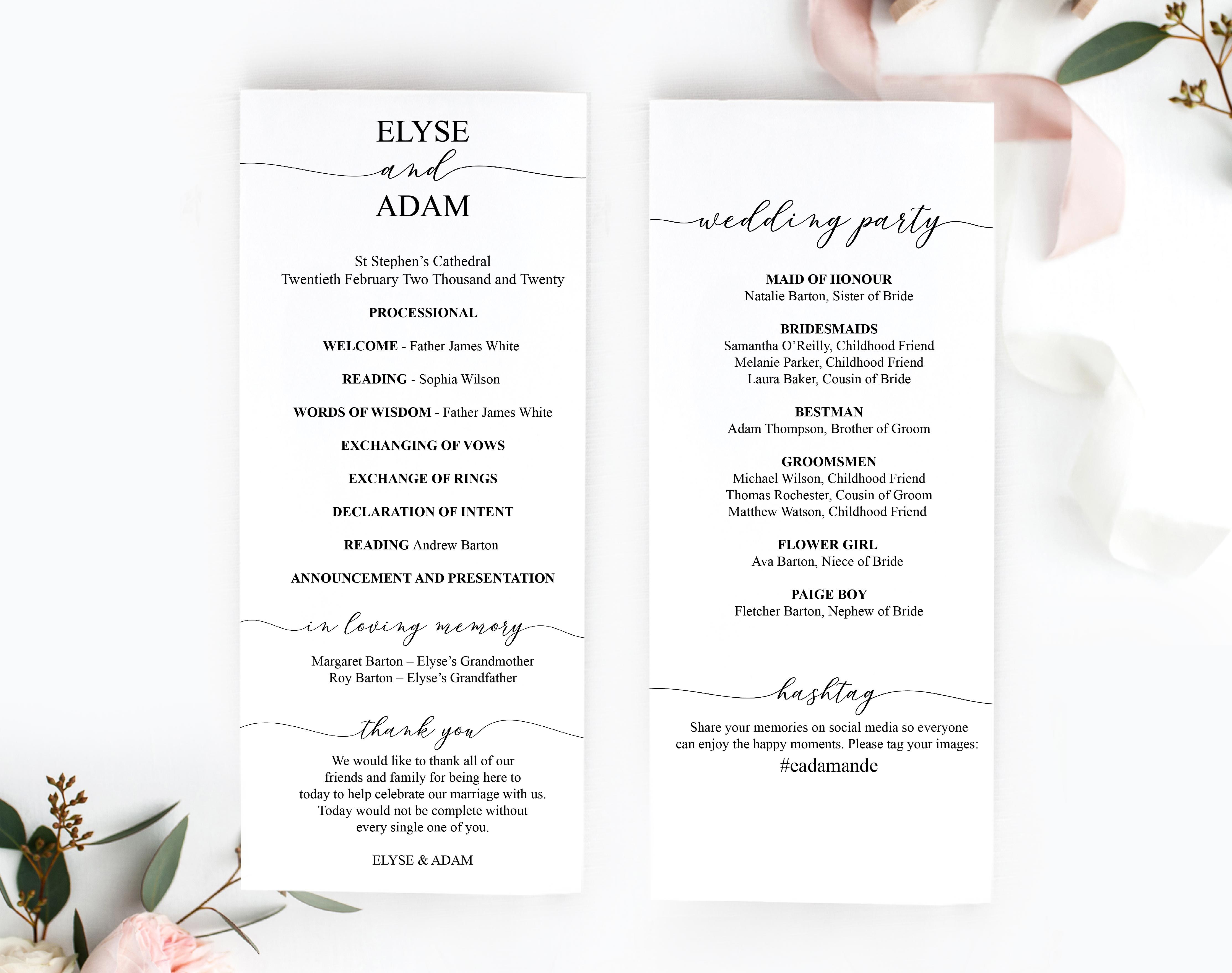 Printable Wedding Program Template Diy Printable Wedding Order Of Cer Printable Wedding Program Template Wedding Programs Template Printable Wedding Programs
