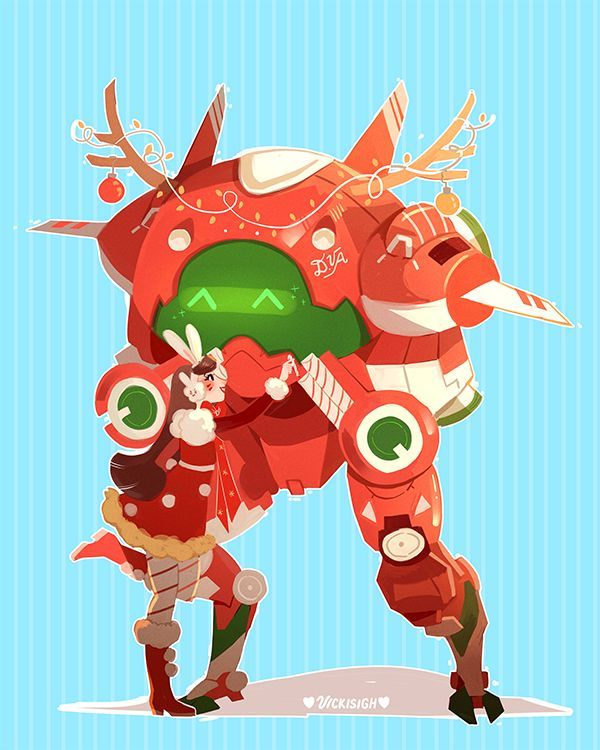 Vicki overwatch http d va christmas skin idea - Overwatch christmas wallpaper ...