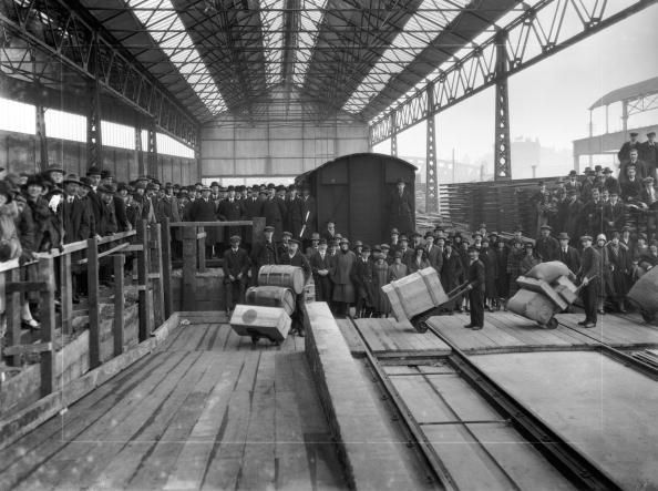 Opening of new goods depot Paddington station London March 1926 Officials and guests watch as porters transfer goods from the old partially...