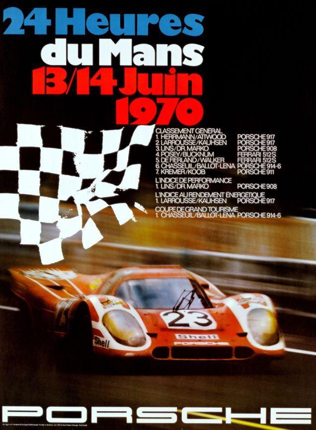 VINTAGE PORSCHE LE MANS 1970 RACING A2 POSTER PRINT