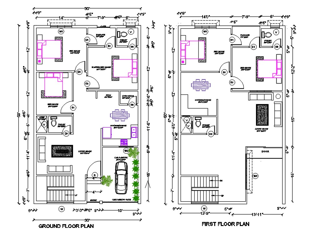 30 X50 House Ground Floor And First Floor Plan With Furniture Layout Drawing Dwg File 30x50 House Plans Two Storey House Plans Floor Plan Layout