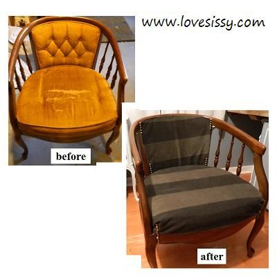 chair makeover, no paint, upholstery only