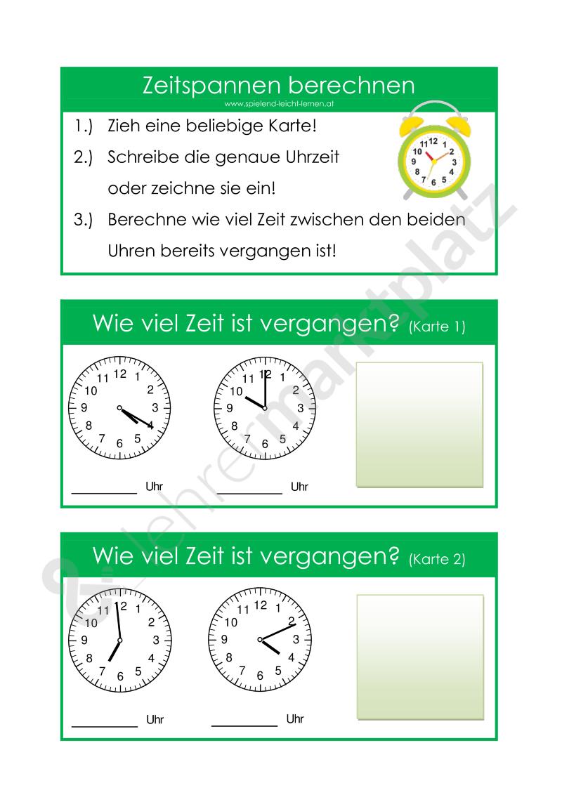 Zeitspannen berechnen | Spielend leicht lernen | Pinterest | Mathe ...