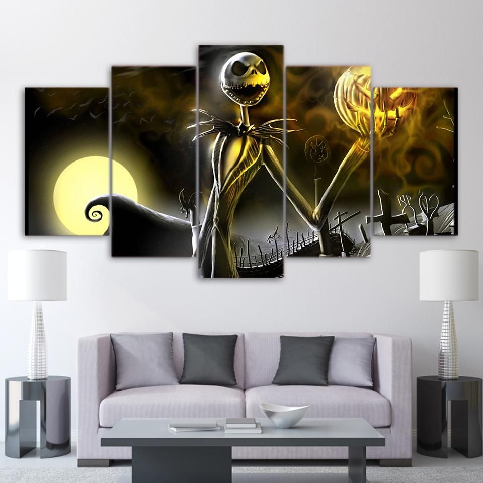 5 Piece Canvas art nightmare before Christmas Halloween Canvas Wall ...