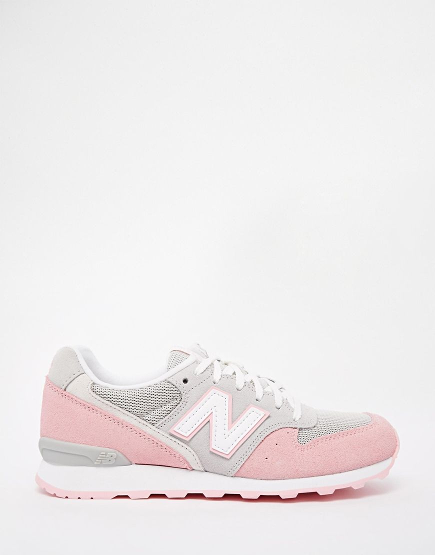 new balance 996 pastel grey pink suede trainers