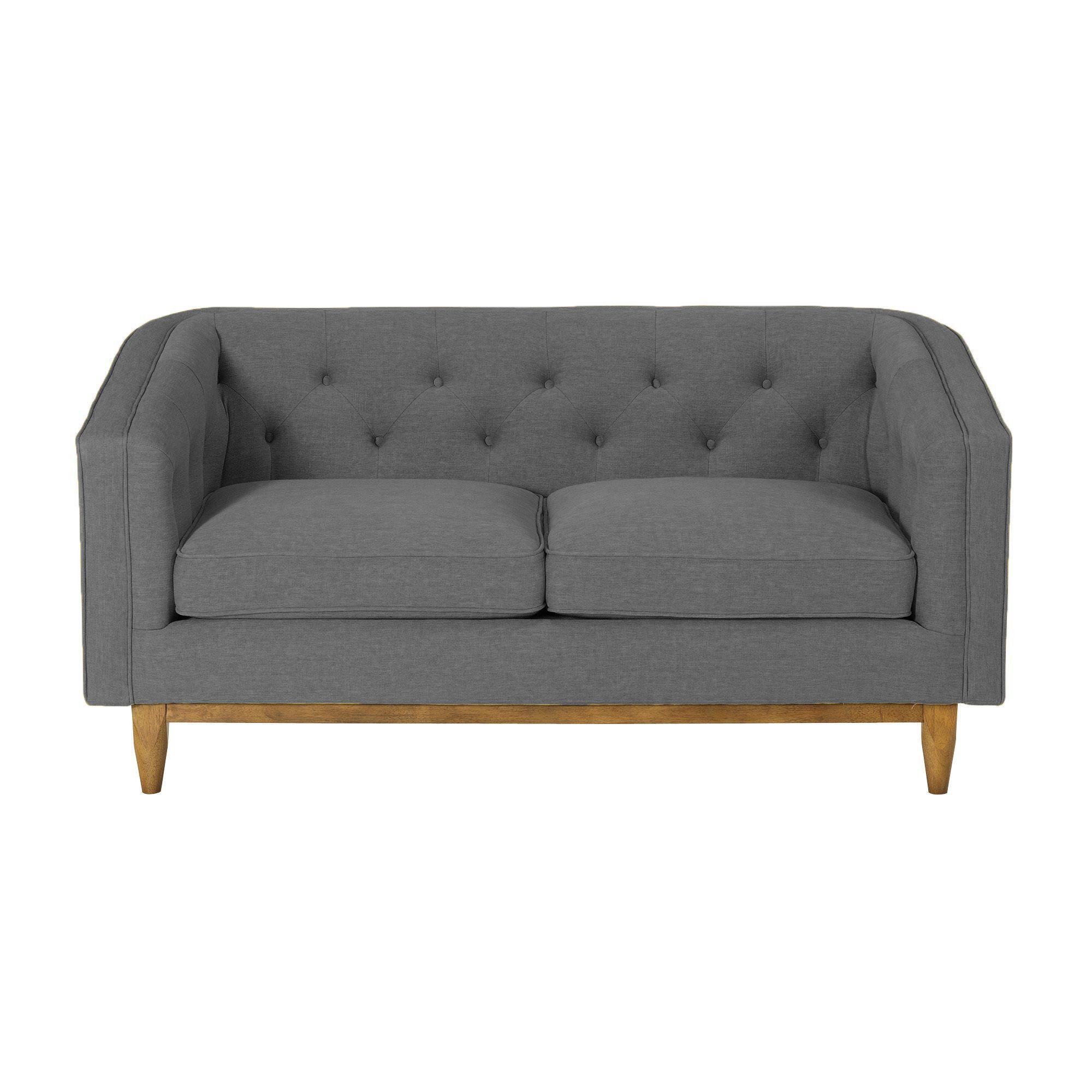 Canapé 2 places revêtement tissu capitonné gris - Marie Meuble ...
