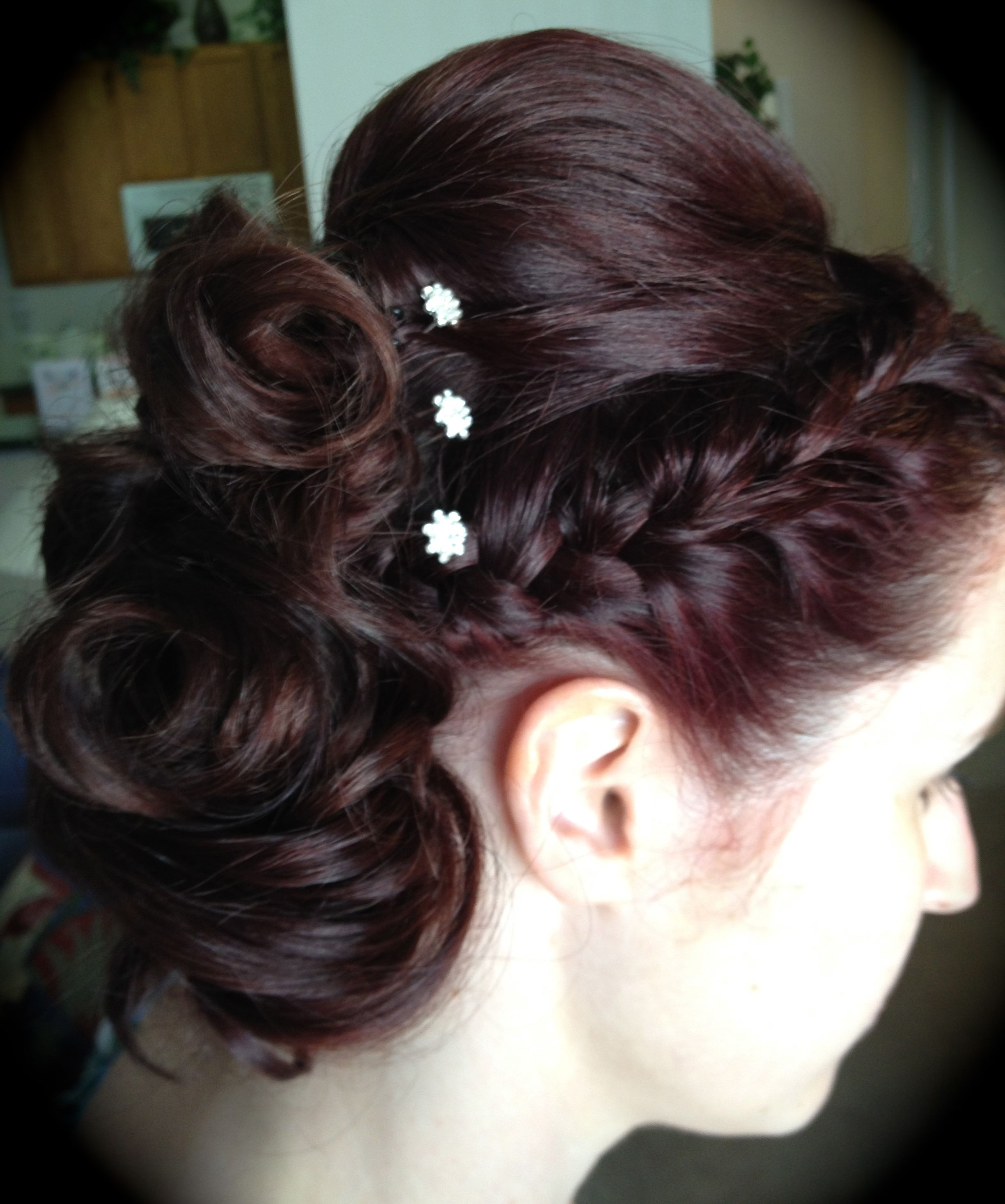 Side Curls With Bump And Braid Hairy Ideas Pinterest Side